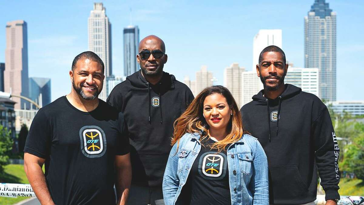 OTE leadership, from left, Commissioner and President Aaron Ryan; EVP and Head of Basketball Operations Brandon Williams; Head of Talent and Recruiting Kali Franklin; and head coach and Director of Player Development Kevin Ollie are shown in Atlanta.