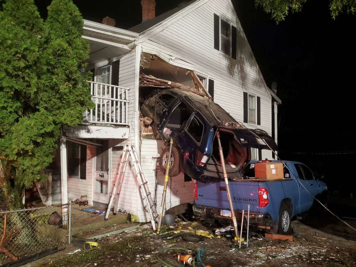 Fire and medical crews responded to a car crash on Saturday morning. The driver reportedly drove the car into the second story of a Norwich home, officials said.