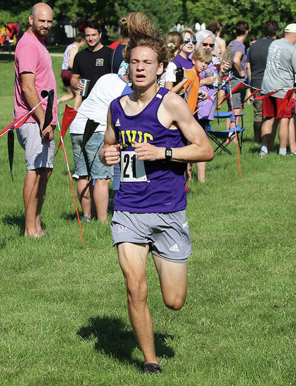 CM's Jackson Collman, nearing the finish at the Highland Invite on Sept. 18, set a PR Saturday with a fourth-place run at the Freeburg Invite.