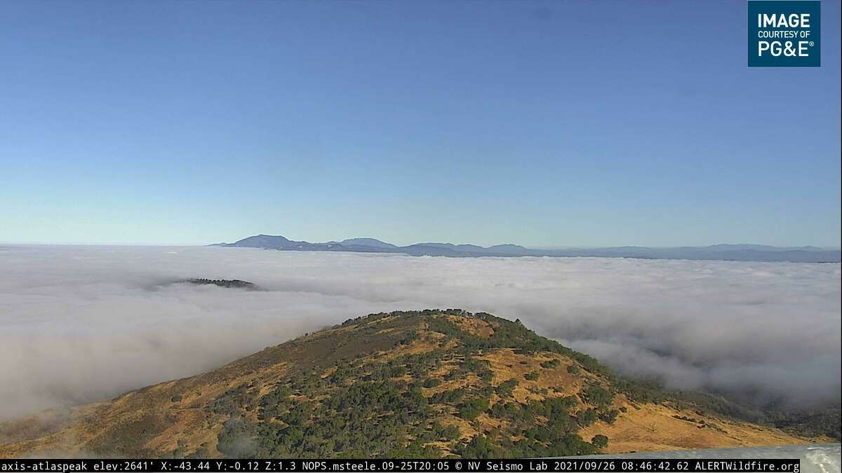 The view from the Alert Wildfire network's remote camera on Atlas Peak in Napa Valley on Sunday morning.
