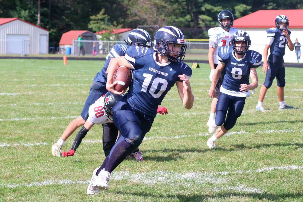 Lucas Stapley had a big day running the ball for Brethren on Saturday, but he is only one of several talented runners the Bobcats have on their roster. (Robert Myers/News Advocate)