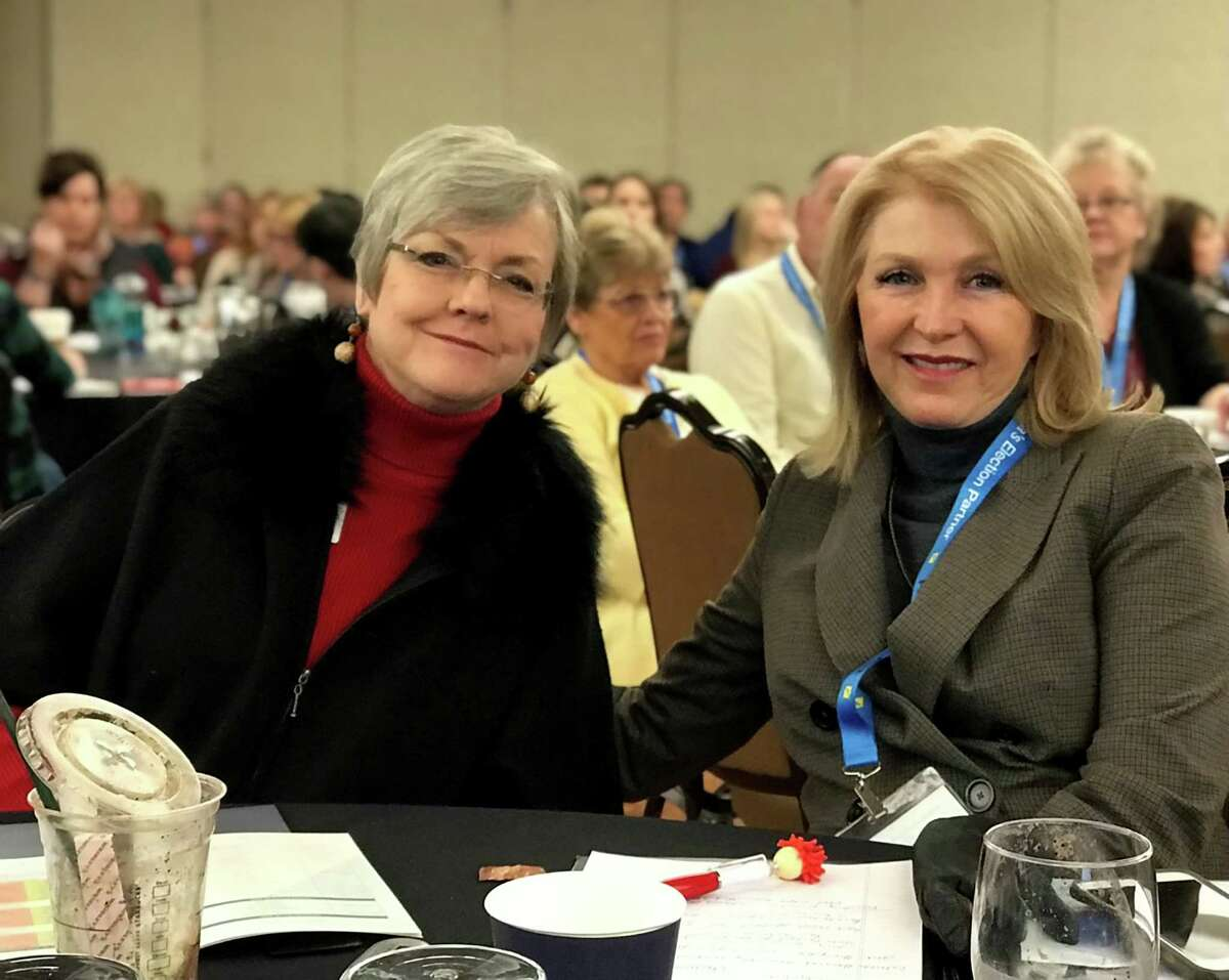 Belinda Knisley, left, and Tina Peters at the Colorado County Clerks Association winter conference in Colorado Springs in 2020.