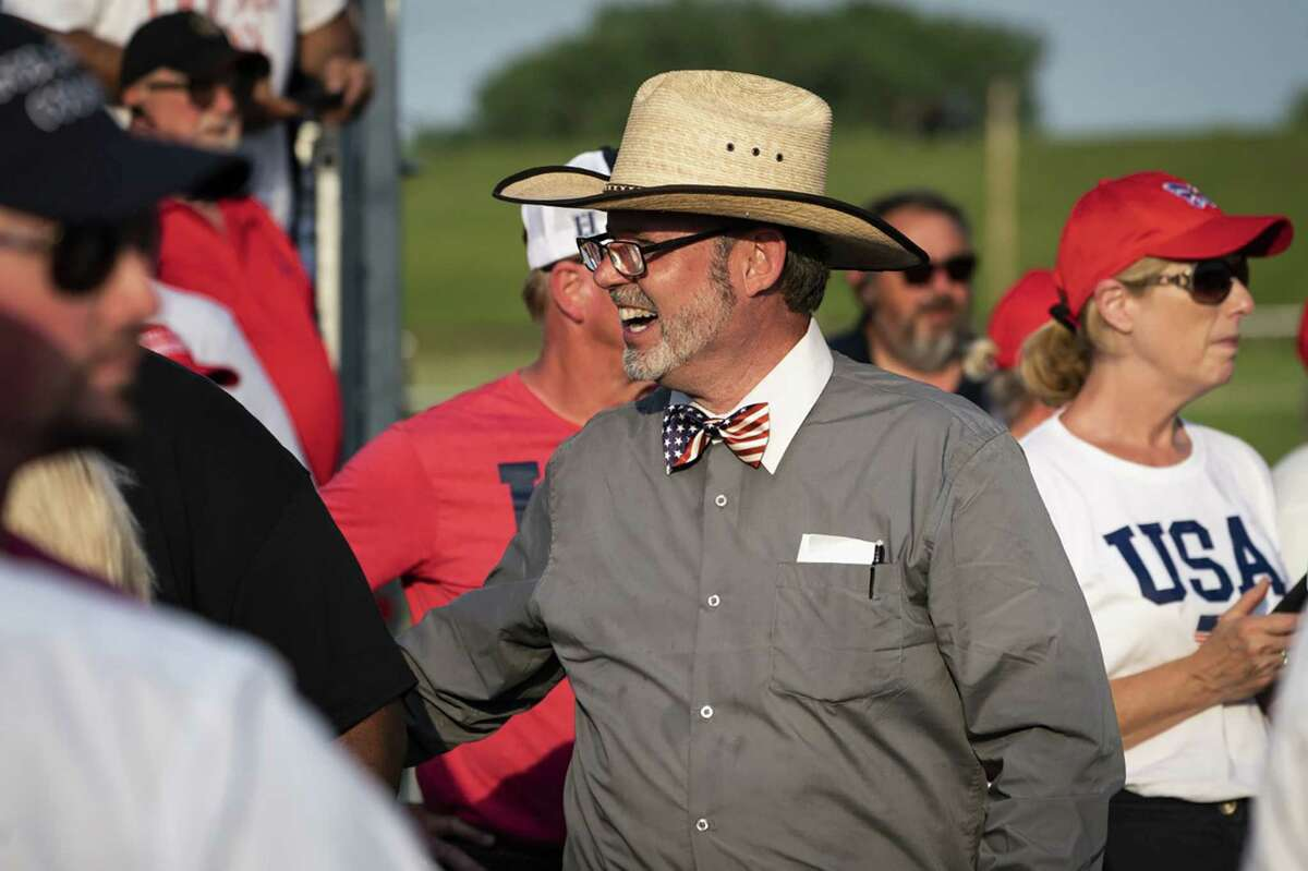 Douglas Frank appears at a rally for former president Donald Trump in Ohio in June.
