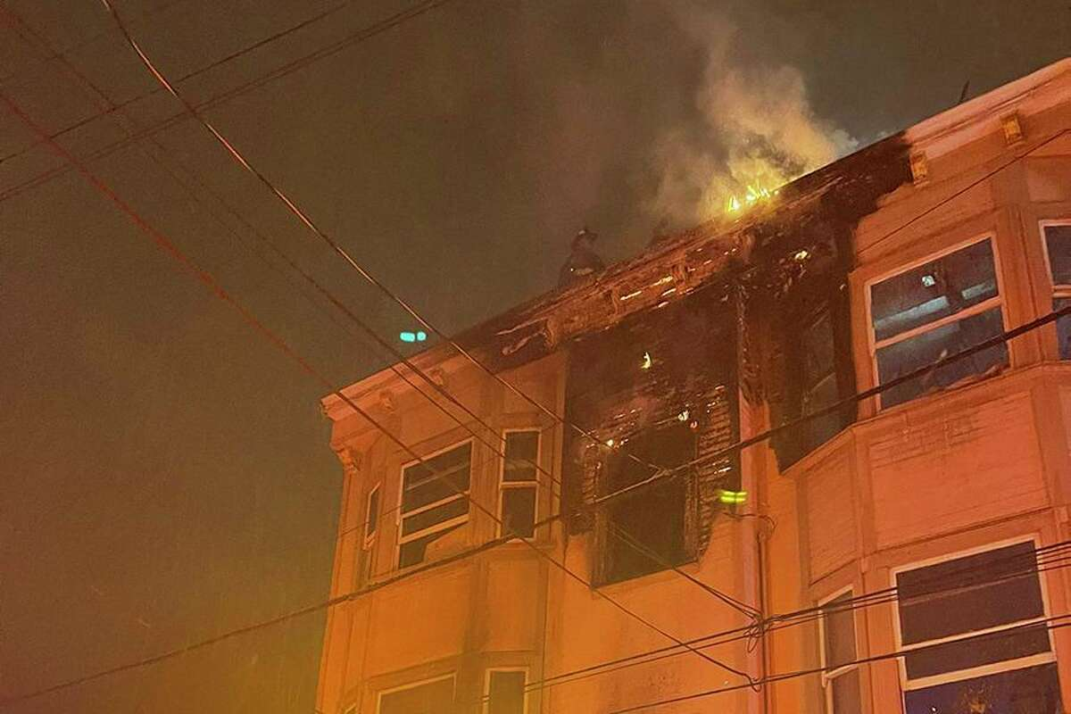 One person was sent to the hospital after a fire broke out at a residential building in San Francisco's Mission District on Saturday night, firefighters said.