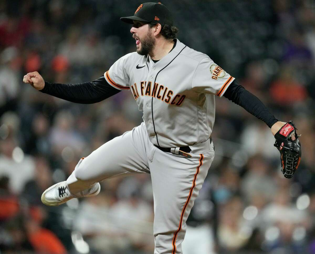 Giants reliever Dominic Leone had an adventurous inning in Denver on Saturday but didn't allow a run.
