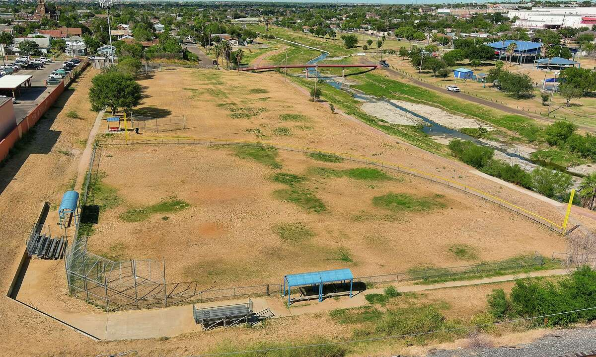 An aerial view of Scott Street Park and partial view of Seven Flags Park as seen Saturday, Sept. 25, 2021.