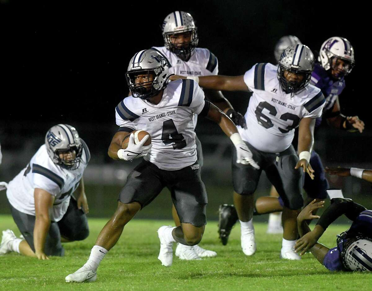 West Orange-Stark's Elijah Gales finds an opening in Newton's defense during Friday's game at Newton High School. Photo made Friday, September 17, 2021 Kim Brent/The Enterprise