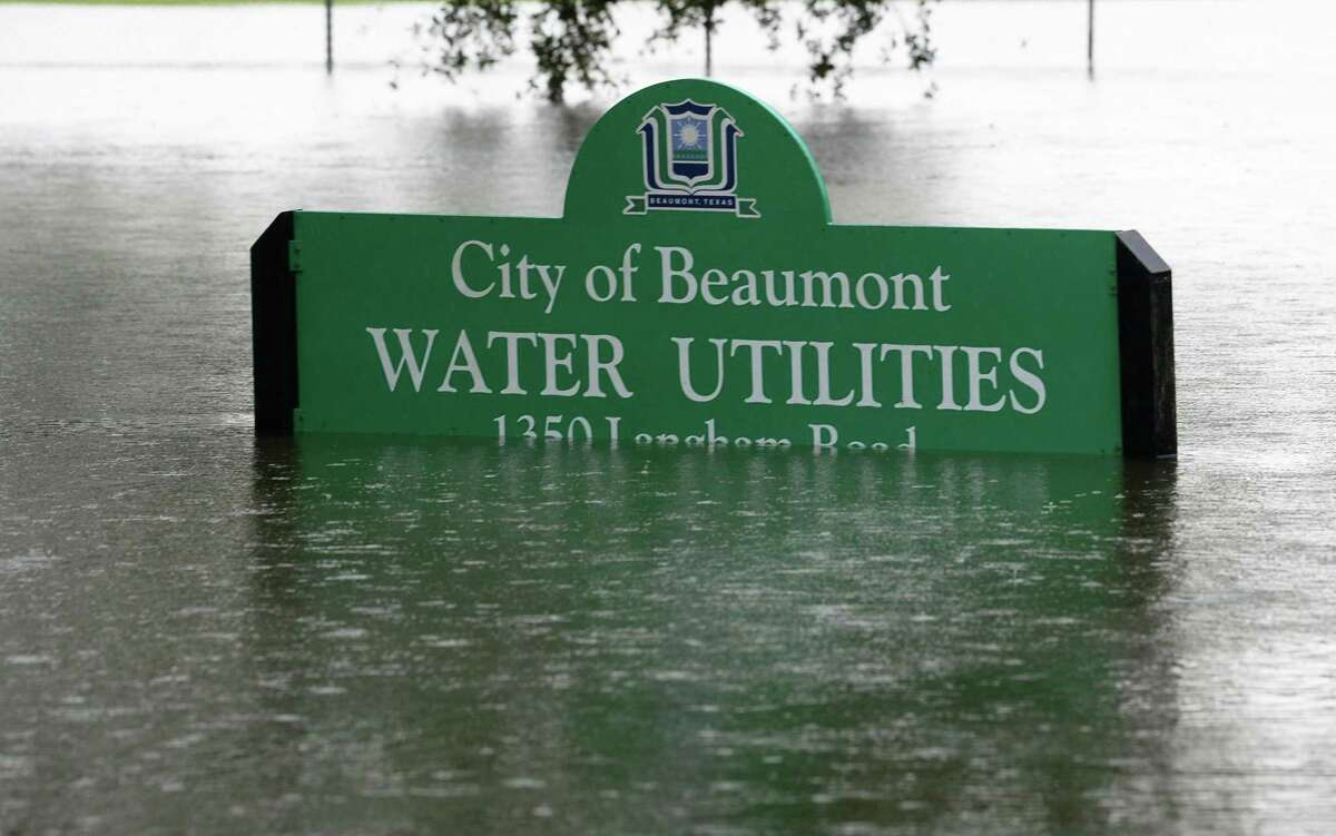 A Beaumont water utility sign flooded by Tropical Storm Imelda. Photo taken Thursday, 9/19/19