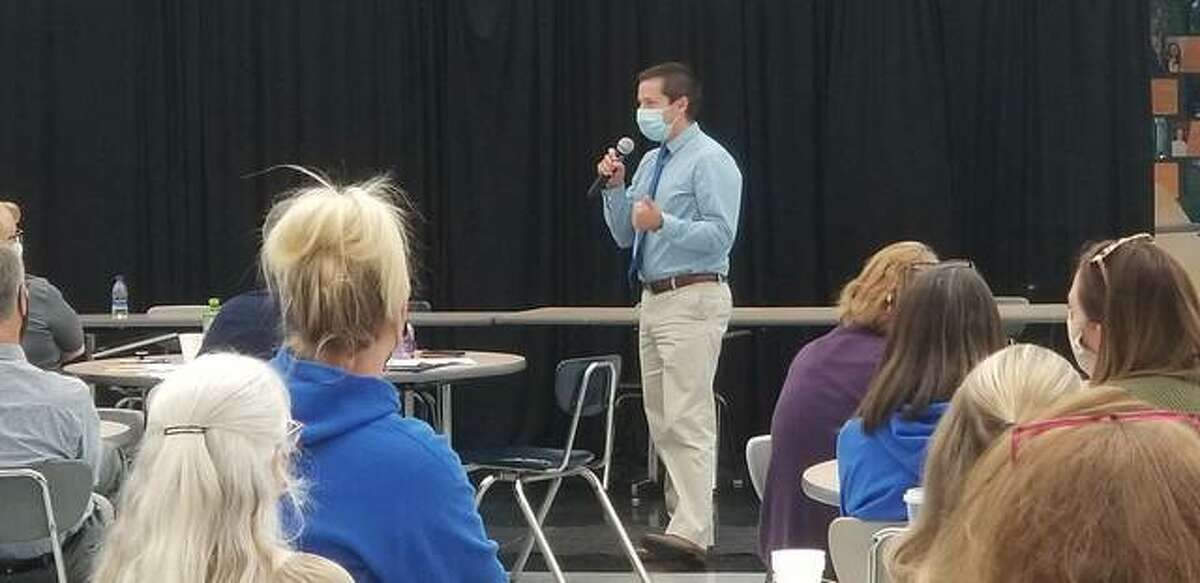 Assistant Superintendent Adam Garrett discussed the workforce in relation to the new strategic plan.