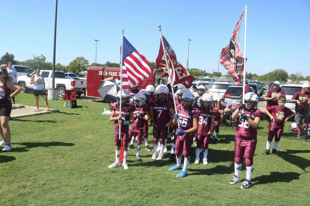 The Deer Park Sophomore Seminoles get ready to take the field Saturday morning for their South Texas Youth Football Association game.