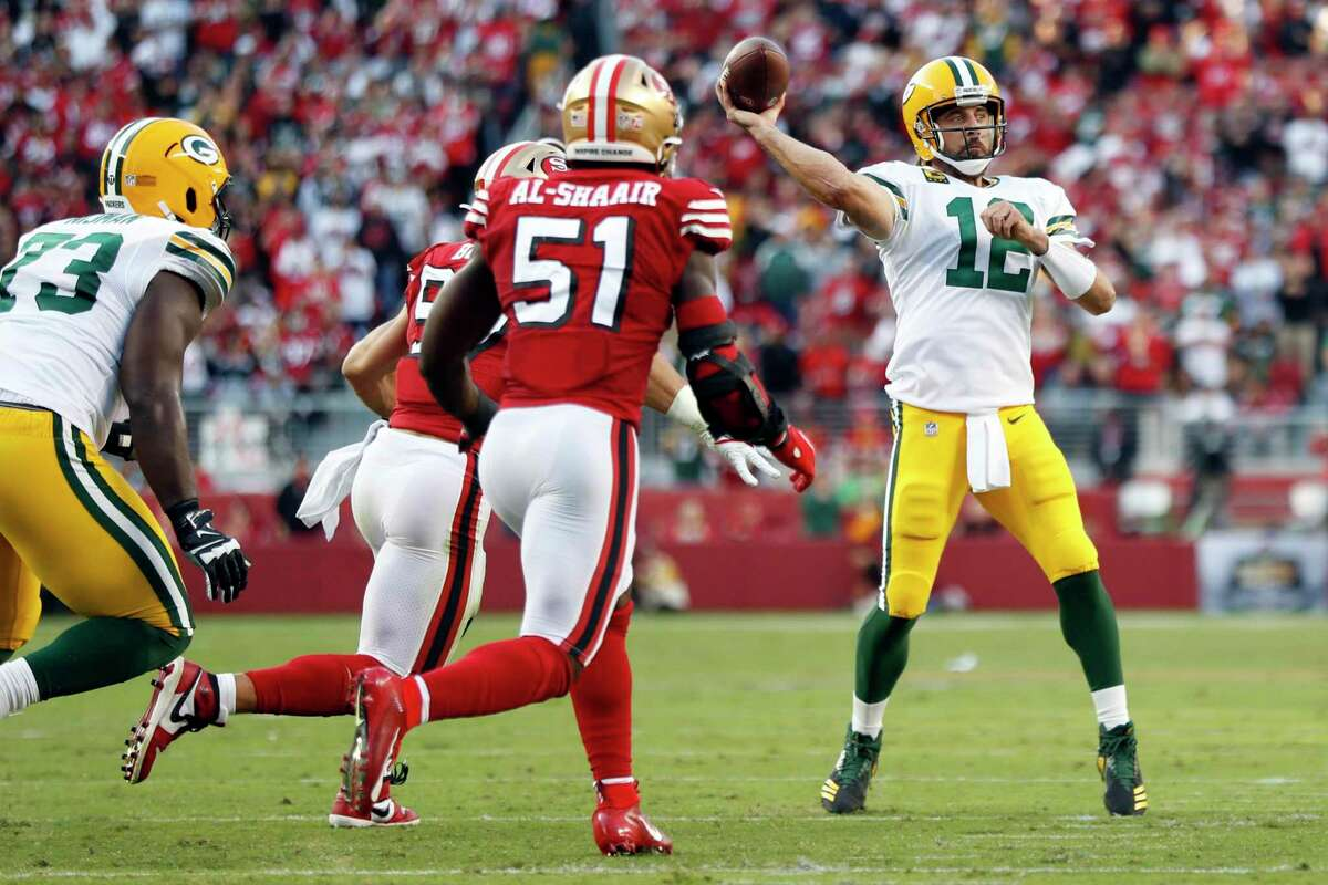 Green Bay Packers' Aaron Rodgers passes against San Francisco 49ers in 2nd quarter during NFL game at Levi's Stadium in Santa Clara, CA on Sunday, September 26, 2021.