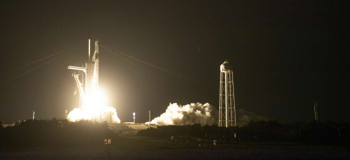 CAPE CANAVERAL, FL - APRIL 23: In this NASA handout, A SpaceX Falcon 9 rocket carrying the company's Crew Dragon spacecraft is launched on NASAs SpaceX Crew-2 mission to the International Space Station with NASA astronauts Shane Kimbrough and Megan McArthur, ESA (European Space Agency) astronaut Thomas Pesquet, and Japan Aerospace Exploration Agency (JAXA) astronaut Akihiko Hoshide onboard, Friday, April 23, 2021, at NASAs Kennedy Space Center in Florida. NASAs SpaceX Crew-2 mission is the second crew rotation mission of the SpaceX Crew Dragon spacecraft and Falcon 9 rocket to the International Space Station as part of the agencys Commercial Crew Program. Kimbrough, McArthur, Pesquet, and Hoshide launched at 5:49 a.m. EDT from Launch Complex 39A at the Kennedy Space Center to begin a six month mission onboard the orbital outpost. (Photo by Joel Kowsky/NASA via Getty Images)