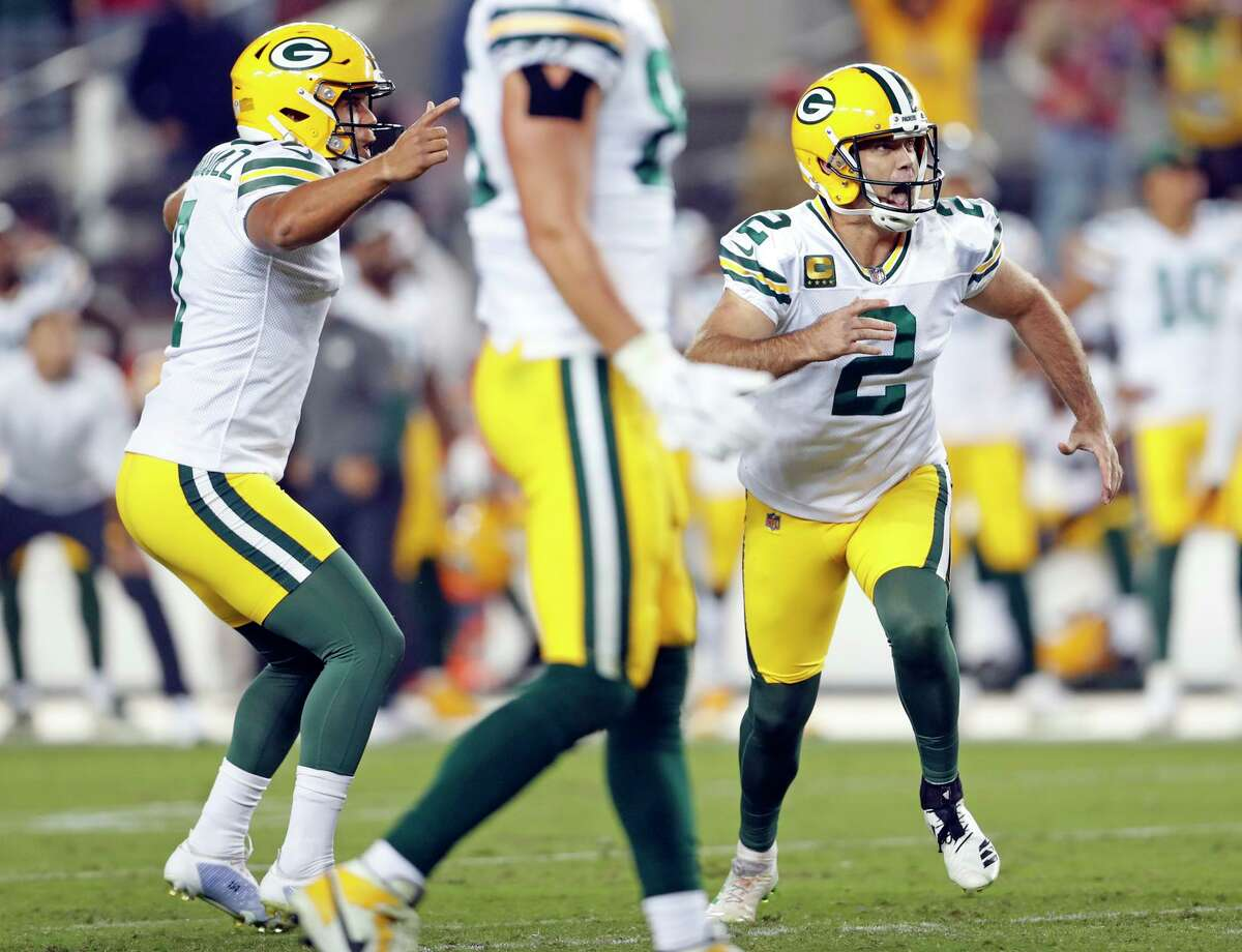 The Packers' Mason Crosby (2) celebrated his game-winning 51-yard field goal as time expired at Levi's Stadium.