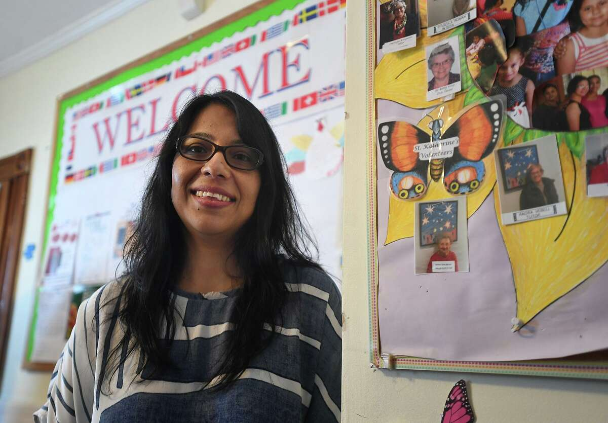 Helen Ramos Paiz, new executive director of Caroline House, an English as a second language program for immigrant women, in Bridgeport, Conn. on Thursday, September 23, 2021.