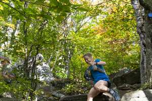 Jennifer Bloom descends ledges during the 2020 Cat's Tail marathon, a 26-mile race along Catskill Mountain trails.