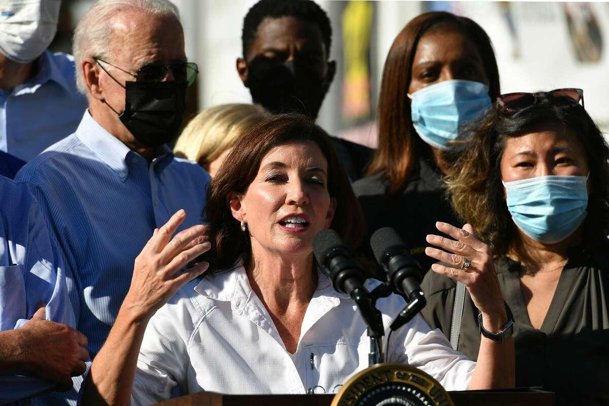 Gov. Kathy Hochul speaks, as she and U.S. President Joe Biden tour a neighborhood affected by Hurricane Ida in Queens, New York on September 7, 2021.