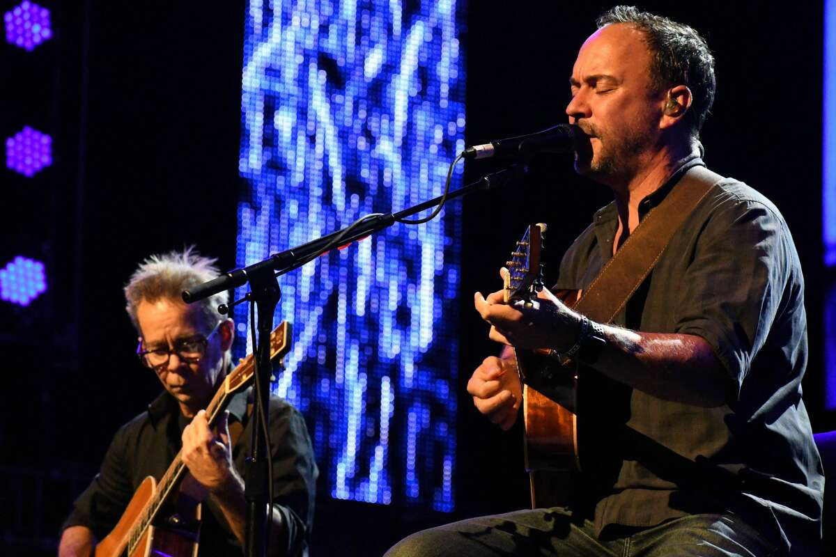 Dave Matthews and Tim Reynolds perform at Farm Aid at the Xfinity Theatre in Hartford on Sept. 25, 2021.