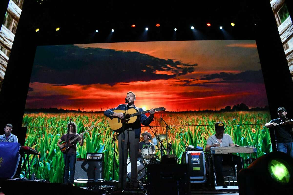 Tyler Childers performs at Farm Aid at the Xfinity Theatre in Hartford on Sept. 25, 2021.