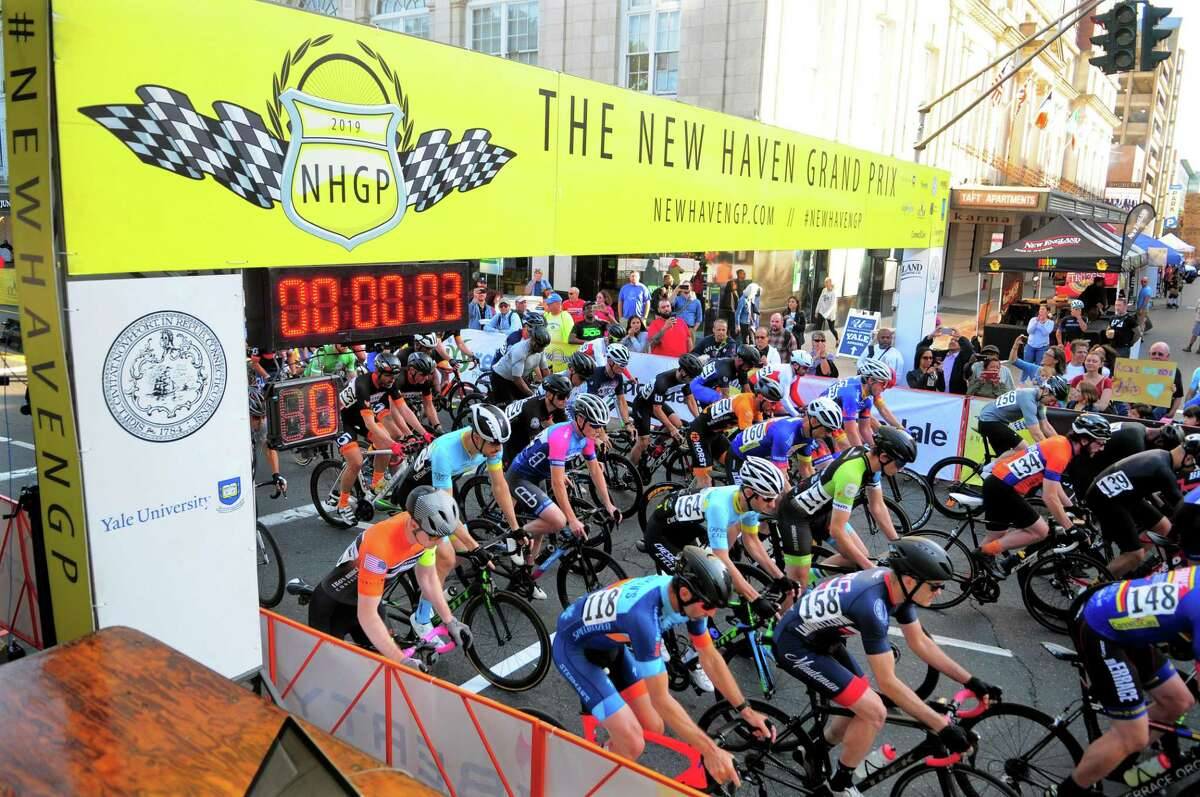 Riders take part in the New Haven Grand Prix in downtown New Haven, Conn., on Friday Sept. 13, 2019. The annual race is a fundraiser for the Connecticut Cycling Advancement Program (a charitable 501(c)(3) organization).