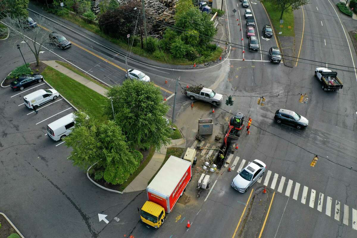 A water main break on Post Road in Westport, Conn., on Monday, Sept. 27, 2021, is causing some traffic delays.