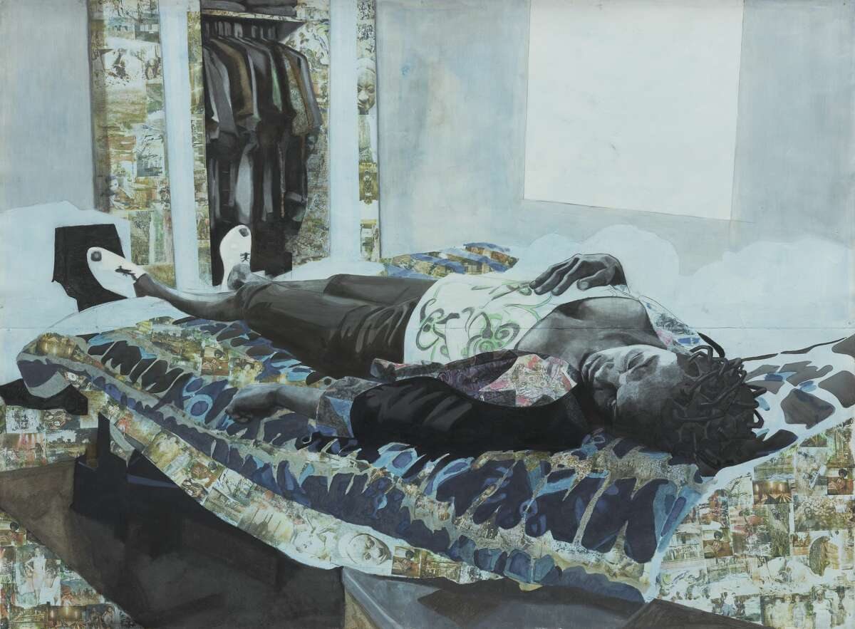 Njideka Akunyili Crosby (m.f.a. 2011), The Rest of Her Remains, 2010. Charcoal, acrylic, ink, collage,and Xerox transfers on paper. Yale University Art Gallery, Purchased with a gift from the Arthur andConstance Zeckendorf Foundation. Courtesy the artist, Victoria Miro, and David Zwirner