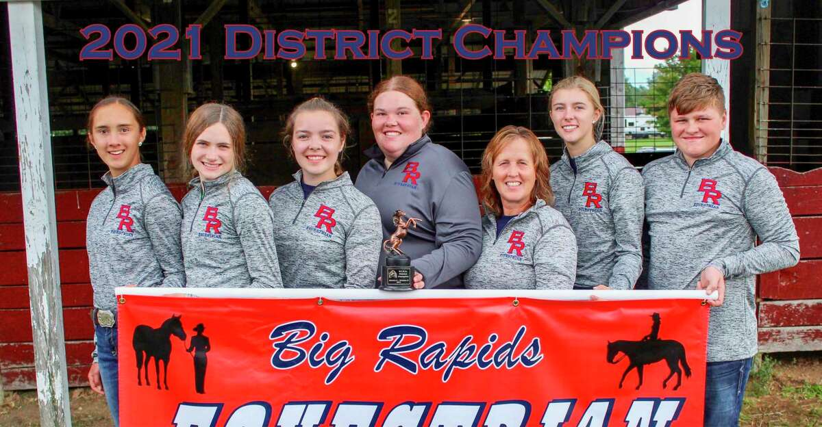 Pictured from the Big Rapids High School Equestrian Team is (from left): Emmalyn Doering, Christa Hatchew, assistant coach Mariah McNeilly, Chloe Quinn, head coach Katey Lattimore, Hailey Bittner and JJ Strohkirch. (Photo courtesy of Laurie Hatchew)