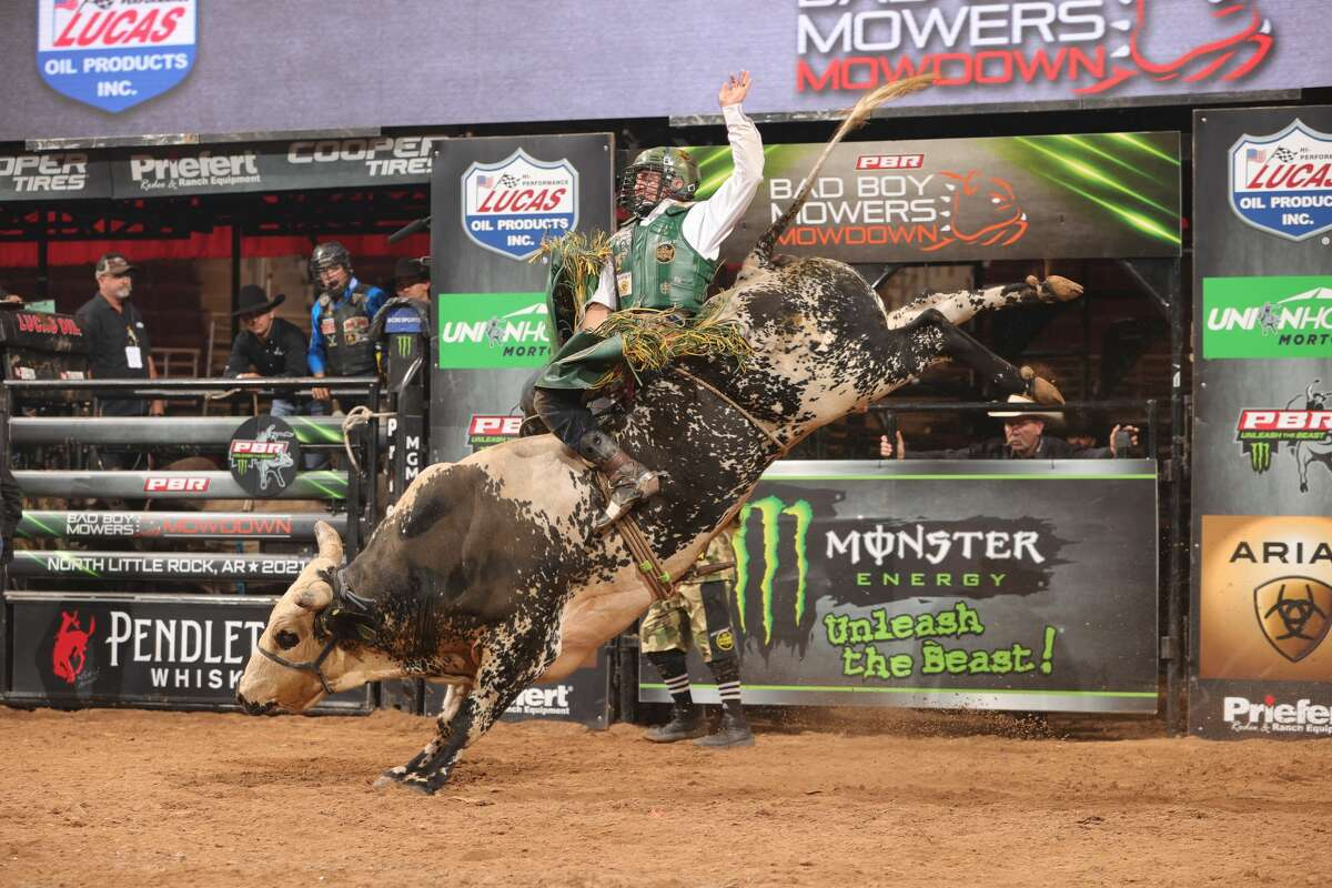 Texas-born champion bull riderAndrew Alvidrez attempts to ride Rickey West Bucking Bulls/Hatcher Porter's Choctaw Bingo during the second round of the Little Rock Unleash The Beast PBR.He will be competing in San Antonio on Oct. 2 and Oct. 3 in the U.S. Border Patrol Invitational.