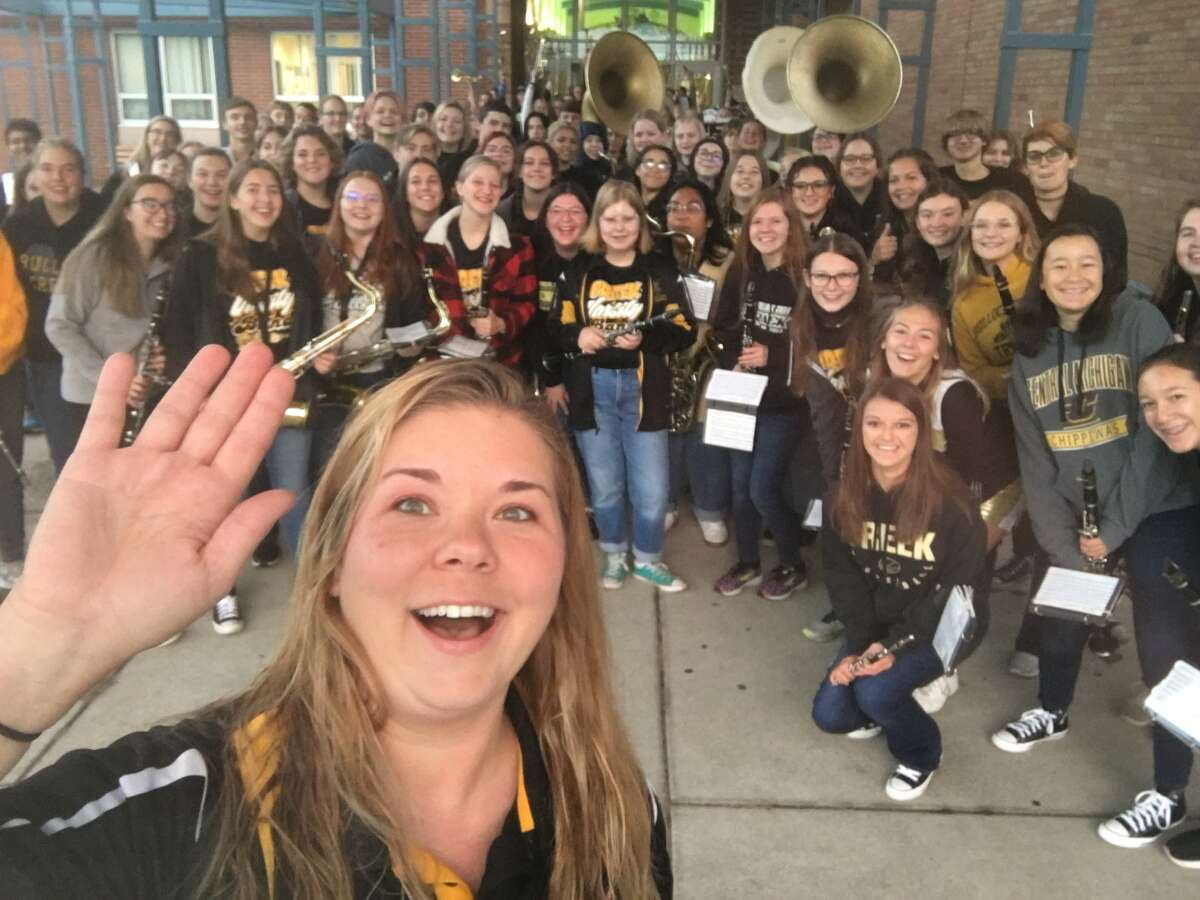Bullock Creek director of bands Josephine Bossenberger is shown in front of the Bullock Creek varsity band as they played to greet students arriving on homecoming morning last Friday. (Photo provided)