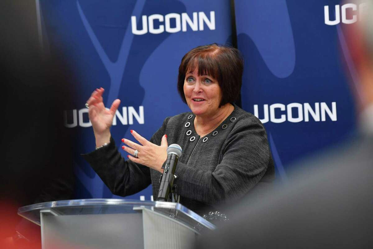 Margaret Keane in 2019 at the University of Connecticut, during her tenure as CEO of Synchrony Financial based in Stamford. Keane, now the executiv chairwoman of the company, has been named co-chair of AdvanceCT, the state's business recruitment agency.