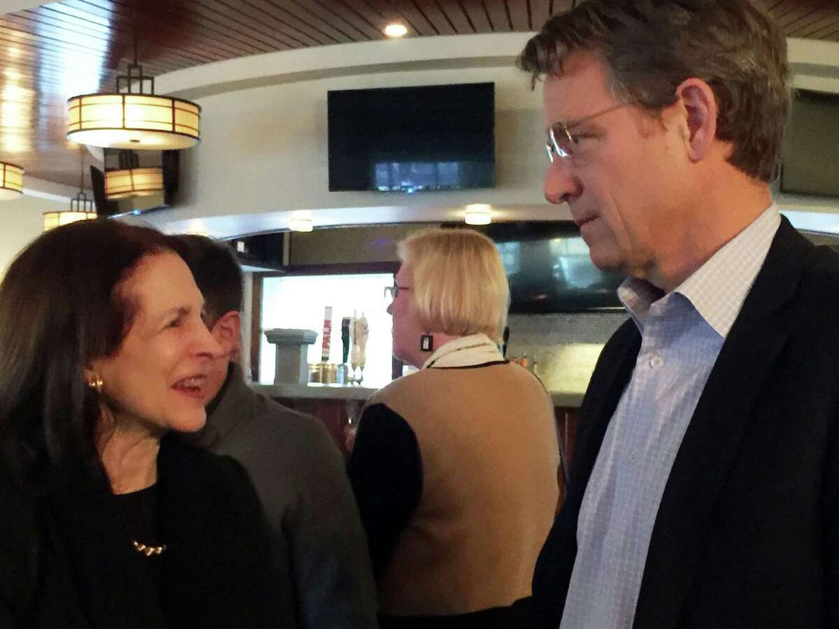 AdvanceCT CEO Peter Denious in February 2020 in Wilton, Conn., with Gail Lavielle who formerly represented the town in the Connecticut General Assembly.