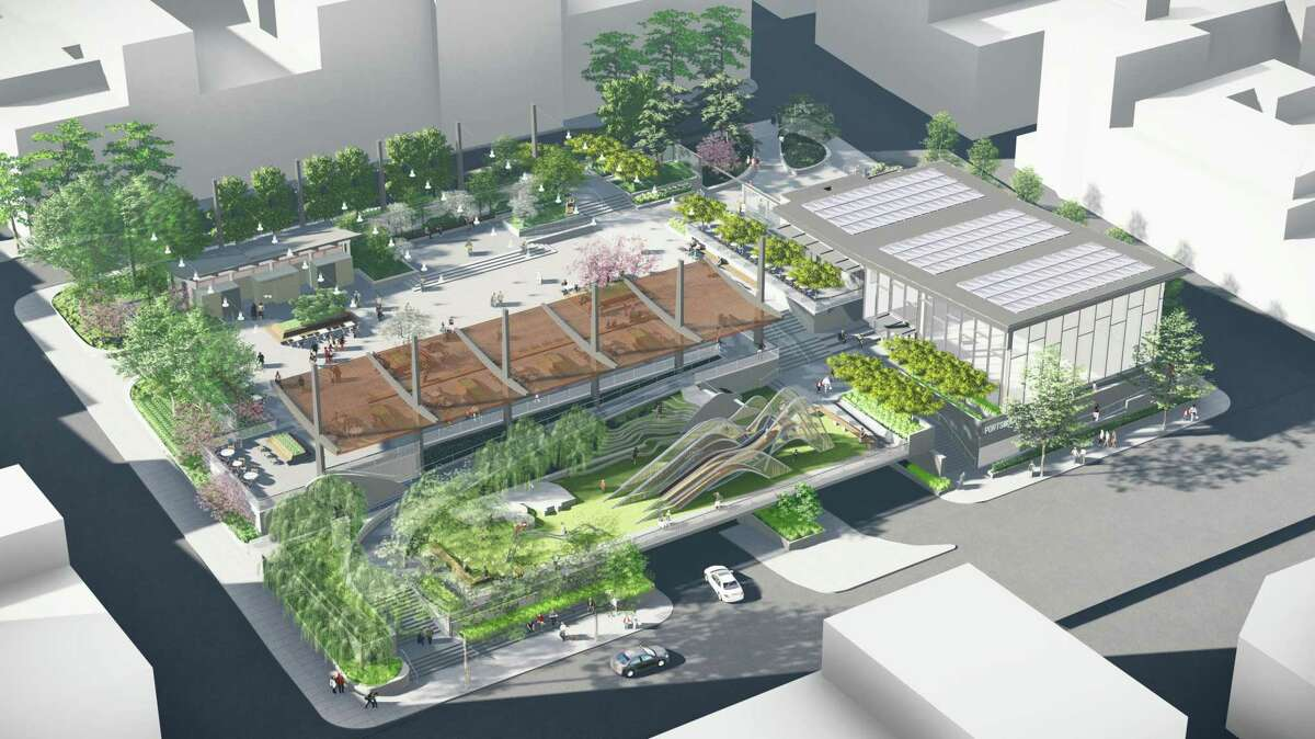 A rendering of Portsmouth Square after its planned redesign and removal of the Kearny Street Pedestrian Bridge.