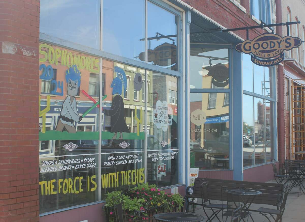 Manistee High School's sophomore class painted the windows of Goody's Juice & Java as part of the school's homecoming week festivities.