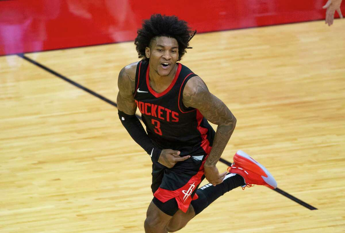 Houston Rockets guard Kevin Porter Jr. (3) celebrates during his 50-point game in a win over the Bucks on April 29, 2021 in Houston.