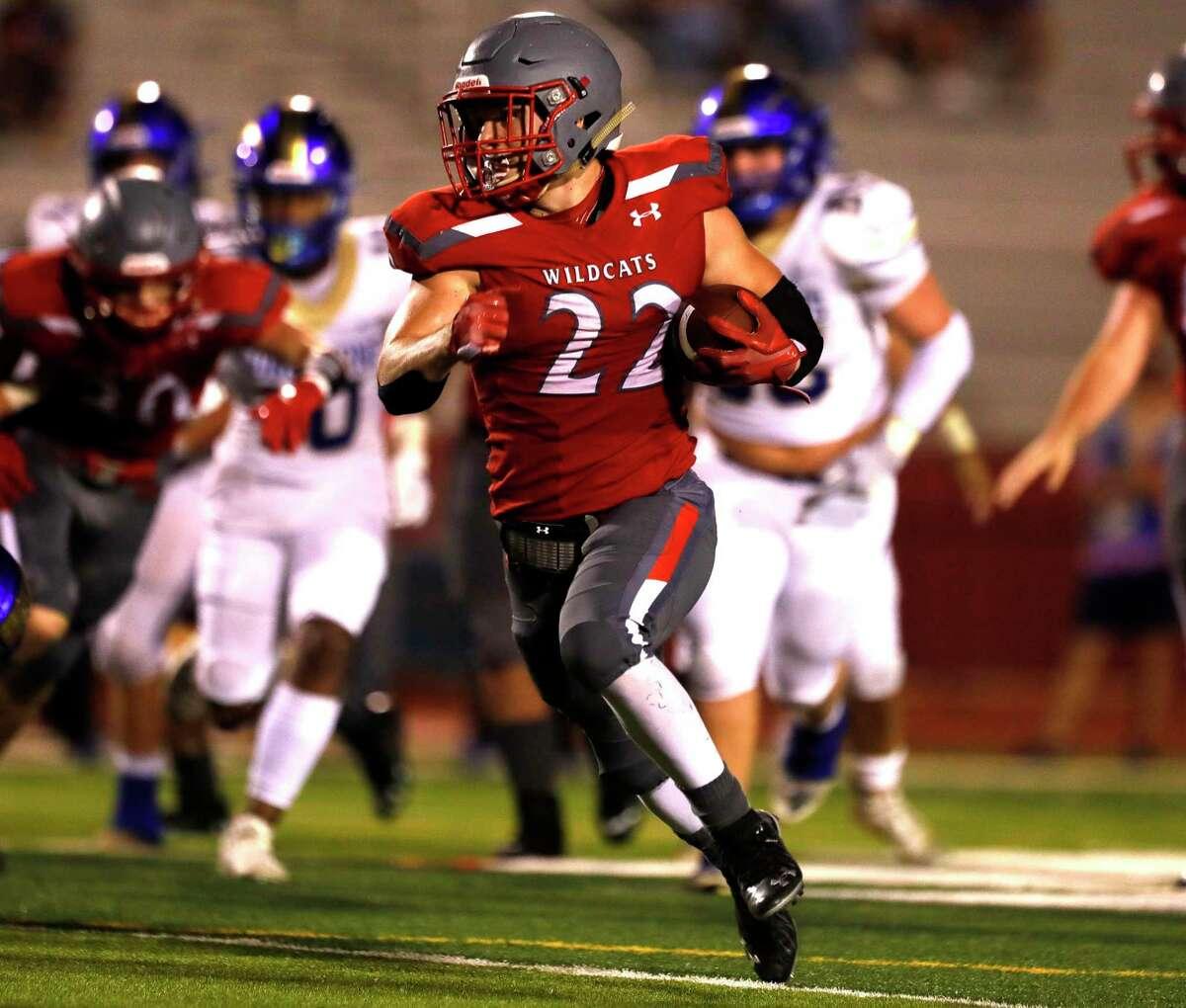 Splendora running back Zane Obregon (22) runs the ball during the second quarter of a high school football game, Friday, Sept. 16, 2021, in Splendora.