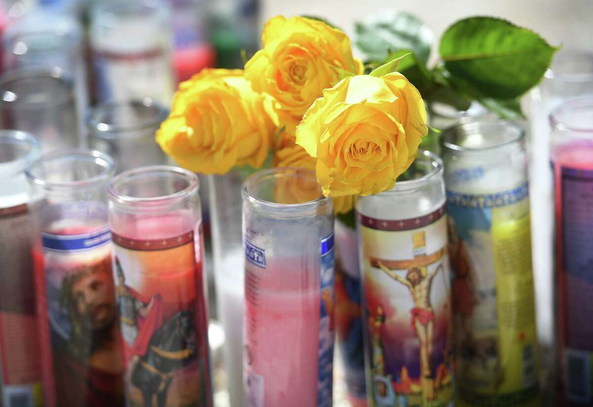 A roadside memorial marks the site of a fatal automobile crash on East Putnam Avenue in Greenwich on Monday.