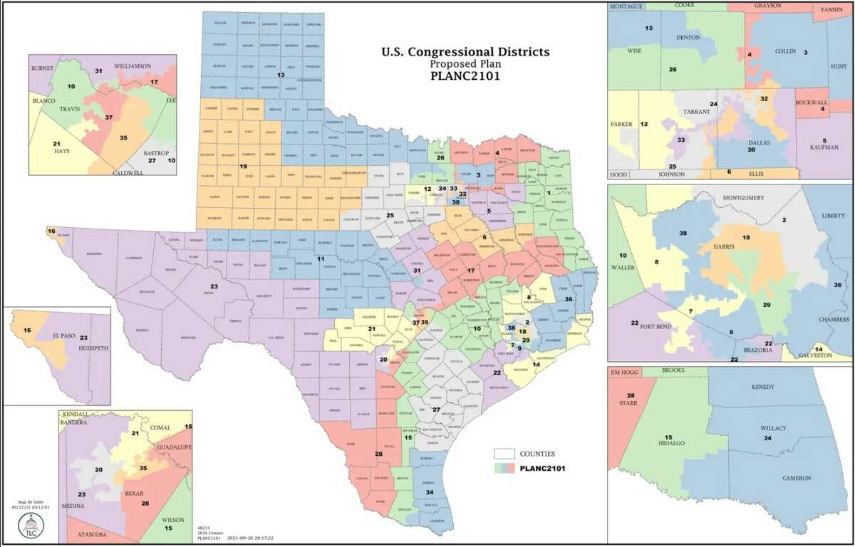 The first draft of the redistricted map adds two new congressional districts
