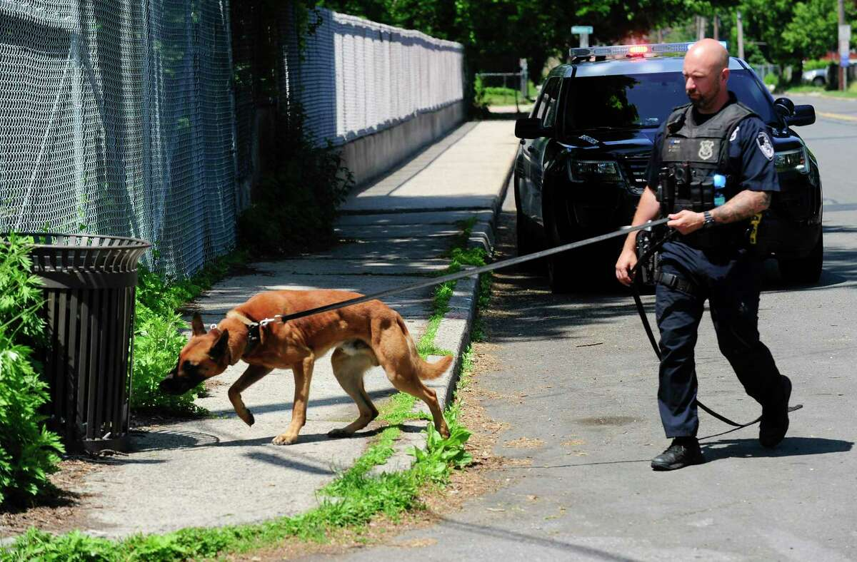 Stamford police search the area surrounding the Fairfield Avenue overpass and I-95 following a reported shooting incident on May 26, 2020.