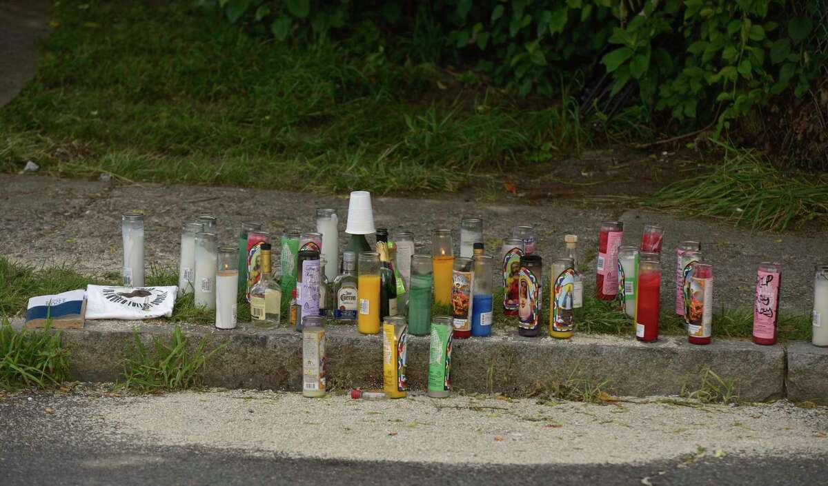 A memorial has been set up at the scene of Sunday's fatal shooting on Beaver Street. . Wednesday, July 15, 2020, in Danbury, Conn.