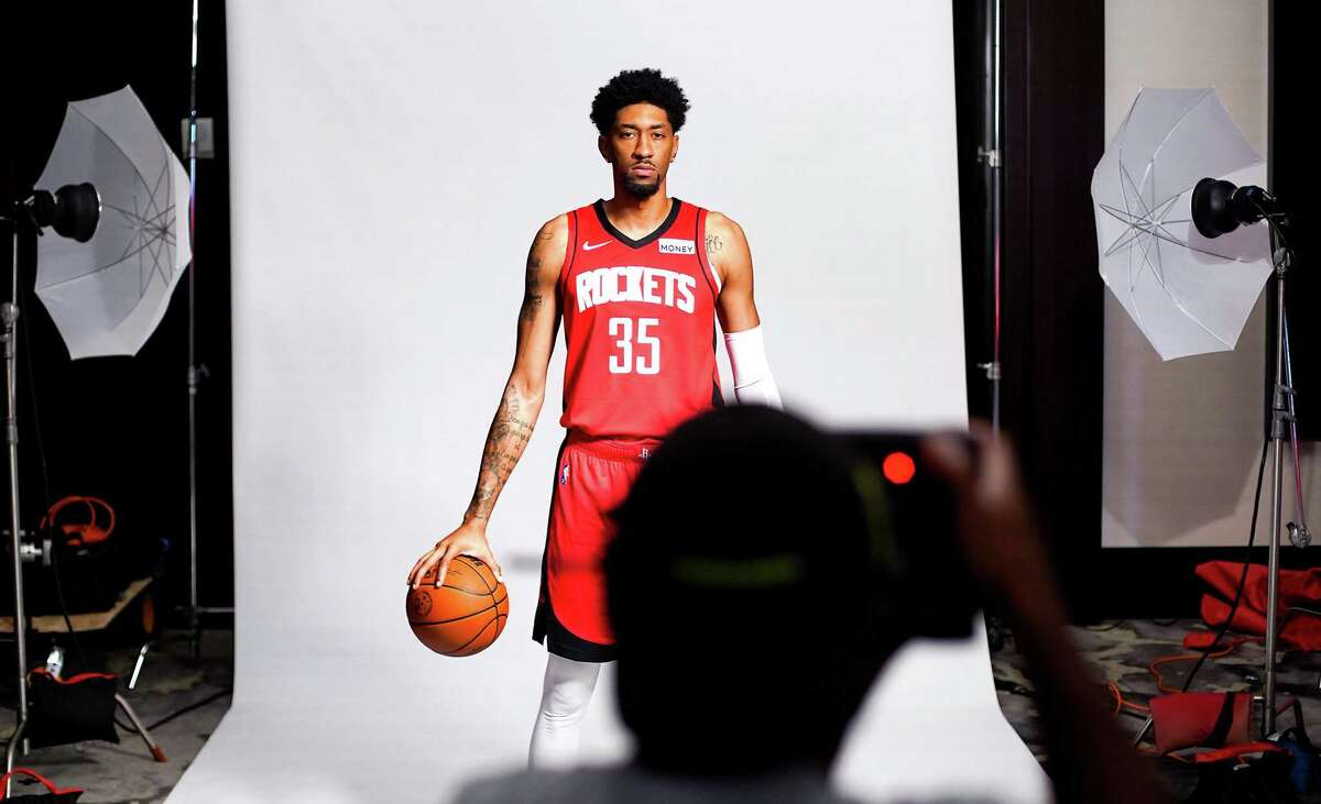 Houston Rocket's Christian Wood (35) poses for a photo during media day in Houston on Monday, Sept. 27, 2021.