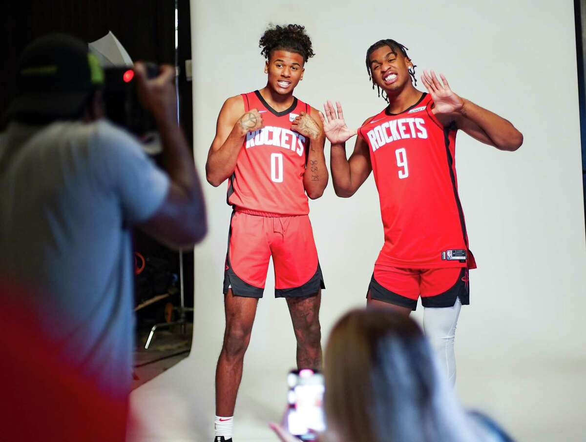 Houston Rockets 19-year-old rookies Jalen Green (0) and Josh Christopher (9) pose for a photo during Rocket's Media Day in Houston on Monday, Sept. 27, 2021.