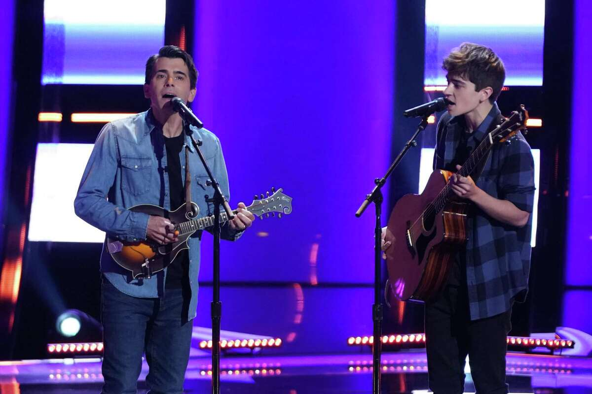 """Jim and Sasha Allen of Newtown, Conn., perform on """"The Voice,"""" in September 2021."""