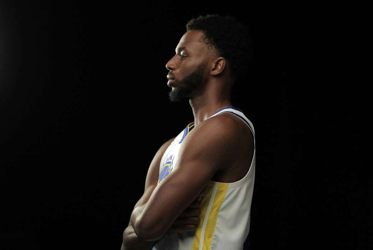 Andrew Wiggins having his portrait made by photographer Kareem Black as the Golden State Warriors held their media day for the 2021-22 season at Chase Center in San Francisco on Monday.