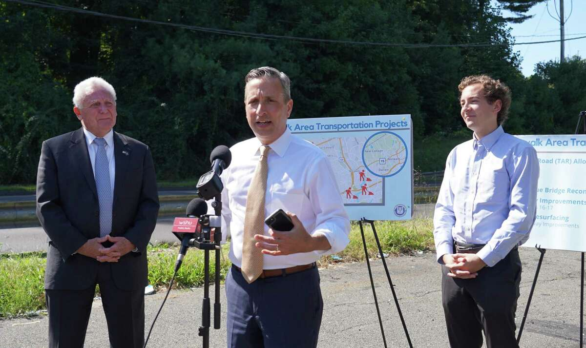 Norwalk's Mayor Harry Rilling and state Senators Bob Duff and Will Haskell held a press conference near Merritt Parkway Exit 38 to discuss $175 million in infrastructure spending on Sept. 27, 2021.