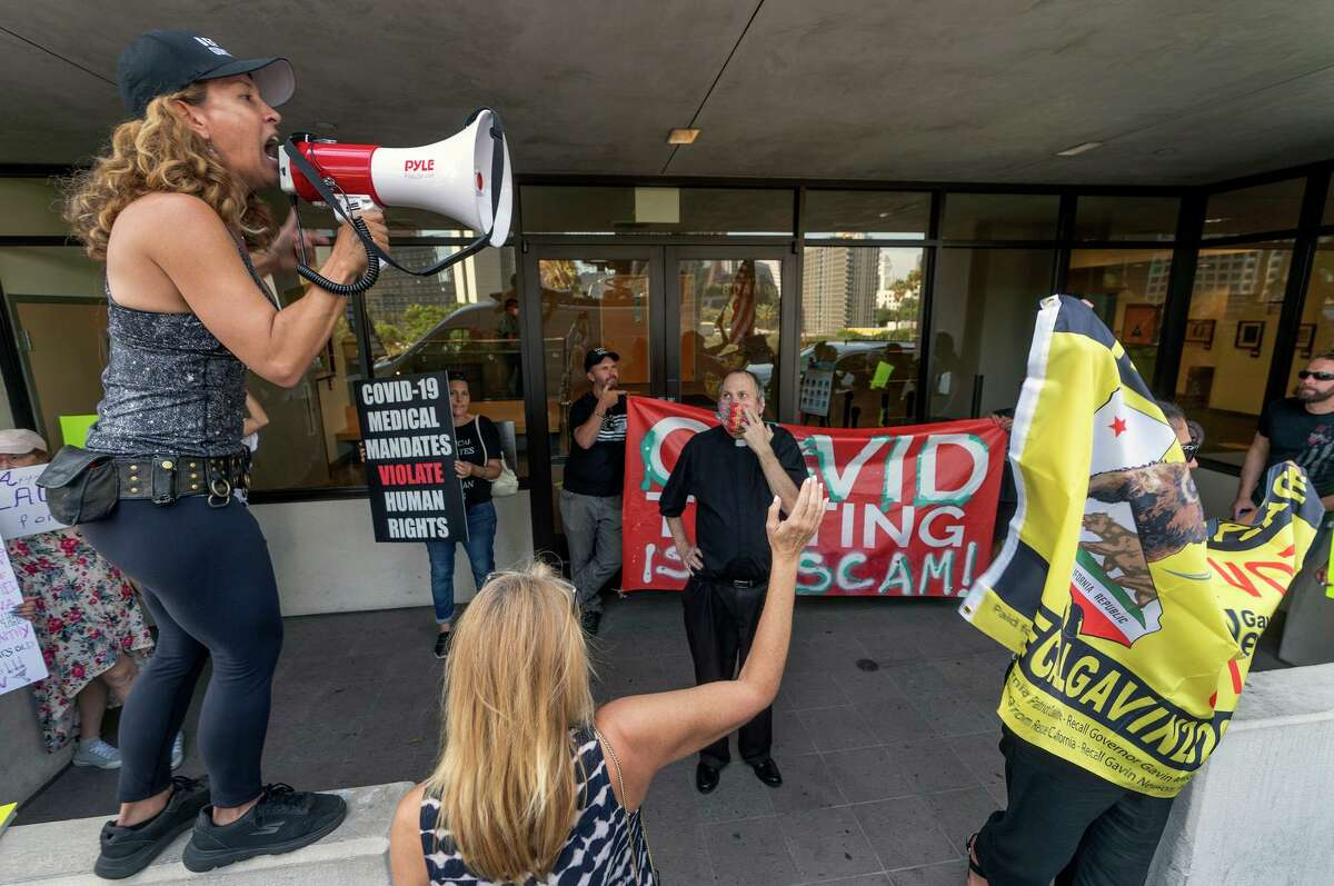 Protesters demonstrate on Sept. 9 against a vaccine mandate outside the Los Angeles Unified School District headquarters.