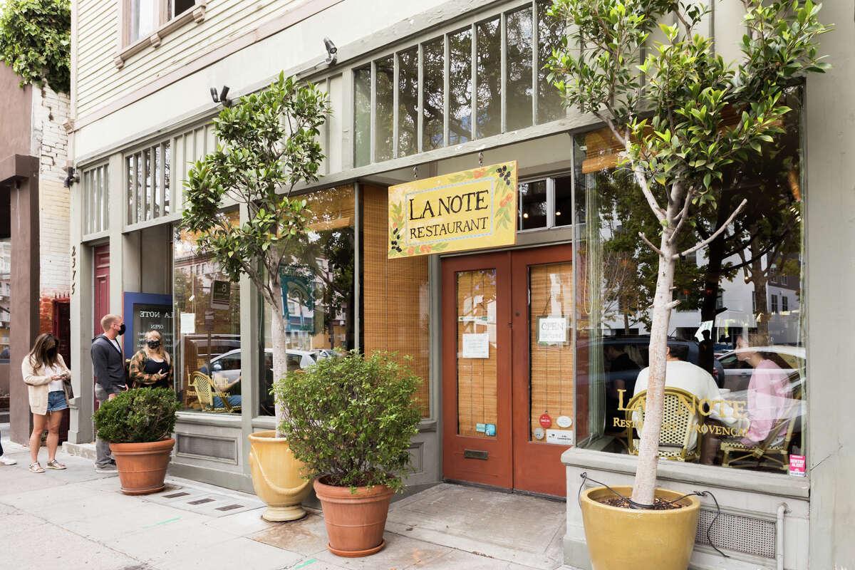 The exterior of La Note Restaurant in Berkeley, Calif., on Sept. 25, 2021.