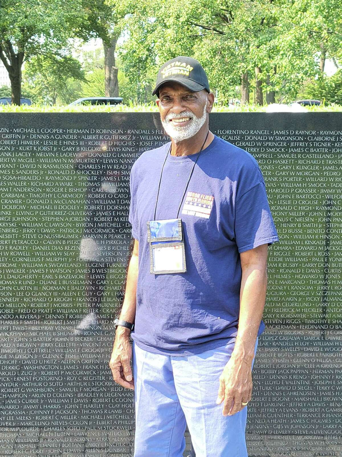 Charles James participated in the South Florida Honor Flight program on Sept. 12. James, a Conroe native and Vietnam veteran, now lives in the Miami area. He's pictured at the Vietnam Wall in Washington DC.