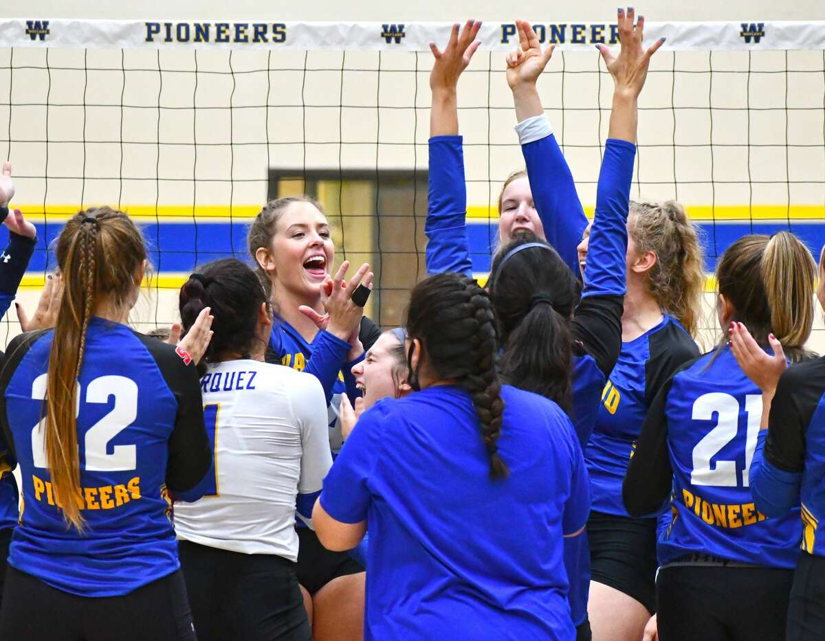 The Wayland Baptist volleyball team celebrates its 3-1 victory over Texas Wesleyan in the Hutcherson Center on Saturday. The victory was the first for the Pioneers against the Rams since 2016 and put WBU in first place in the Sooner Athletic Conference Standings.