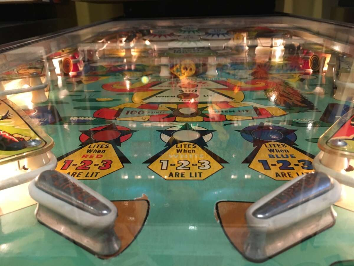 A playfield on a pinball machine in the Pacific Pinball Museum.