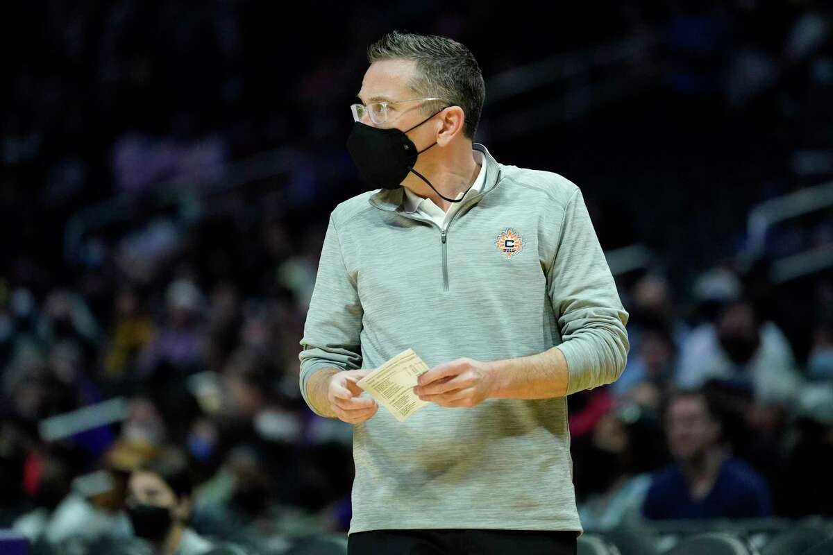 Connecticut Sun coach Curt Miller during a Sept. 9 game against the Los Angeles Sparks.