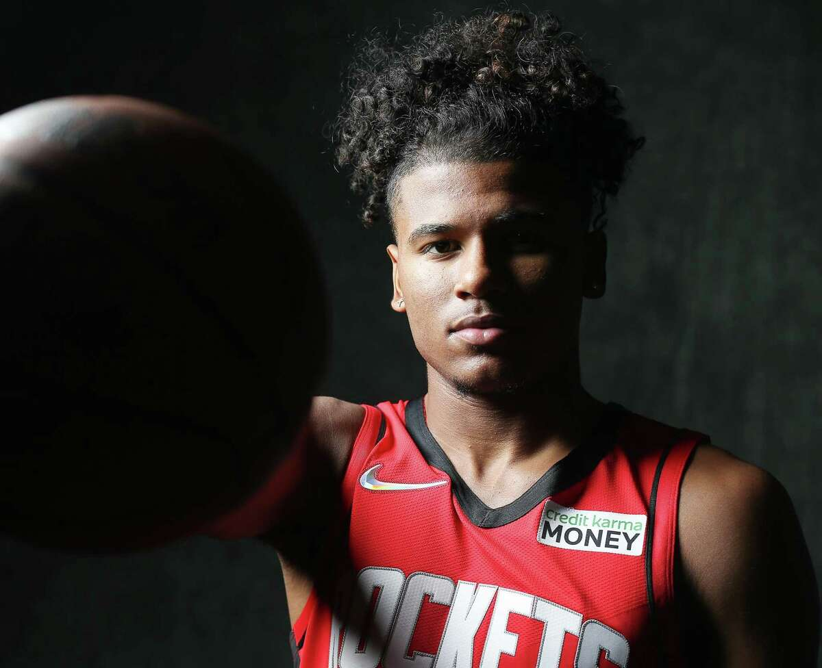 Houston Rockets shooting guard Jalen Green (0) during the team's media day in Houston on Monday, Sept. 27, 2021.